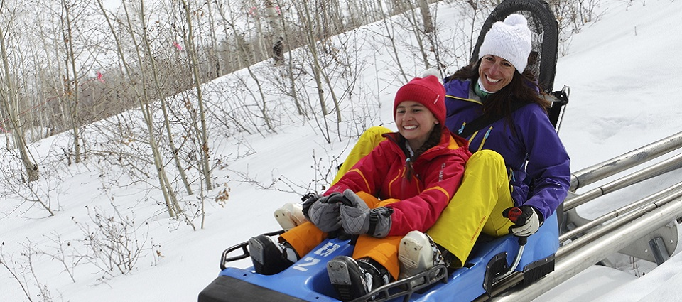 Family snow holidays in Park City ski resort USA Alpine Coaster family activities